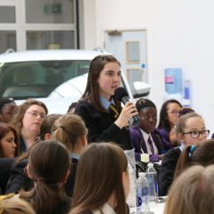 A Pupil asking our Question Time Panel a question